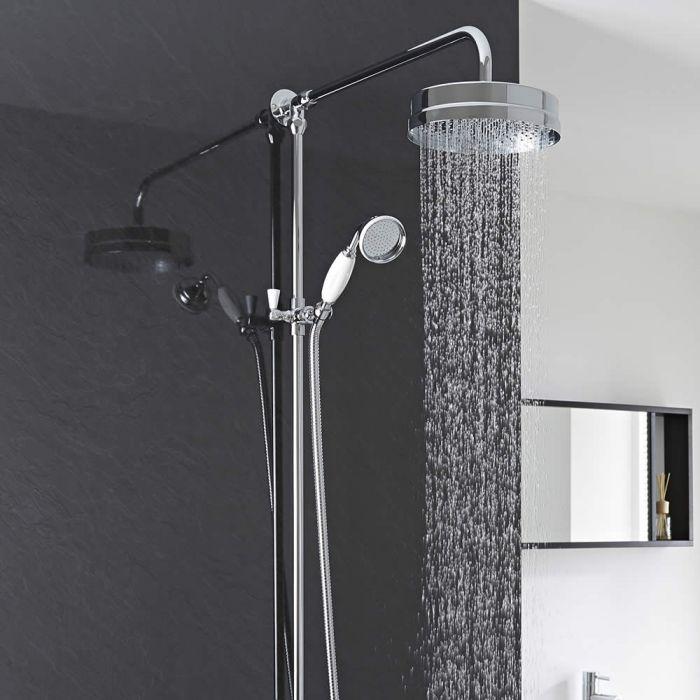 Nostalgie Duschsäule mit Handbrause Chrom und Weiß für Aufputz-Armatur - Victoria
