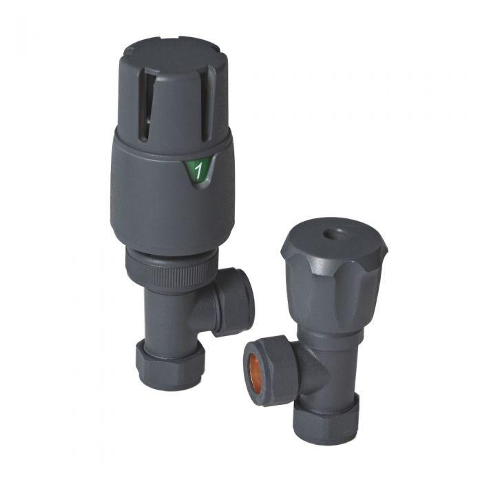 Thermostatische Winkelventile Anthrazit, Paar, für 15mm Kupferrohr
