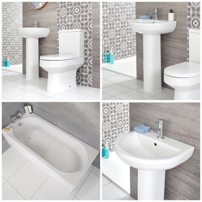 Säulenwaschbecken, WC mit aufgesetztem Spülkasten und Badewanne Set - Covelly