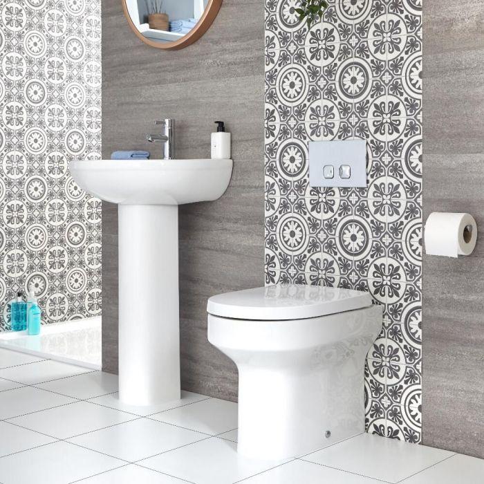 Säulenwaschbecken und Toilette mit Unterputz-Spülkasten - Covelly