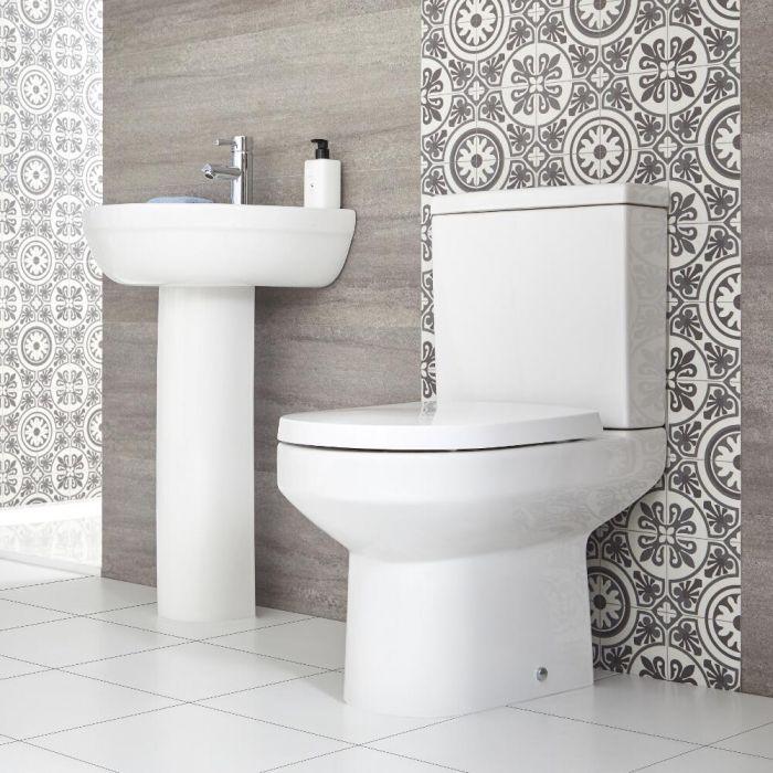 Säulenwaschtisch und WC mit aufgesetztem Spülkasten - Covelly