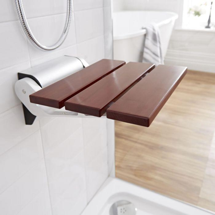 Ausklappbarer Duschsitz zur Wandmontage Sapelli-Holz inkl. schmaler Wandhalterung - Select