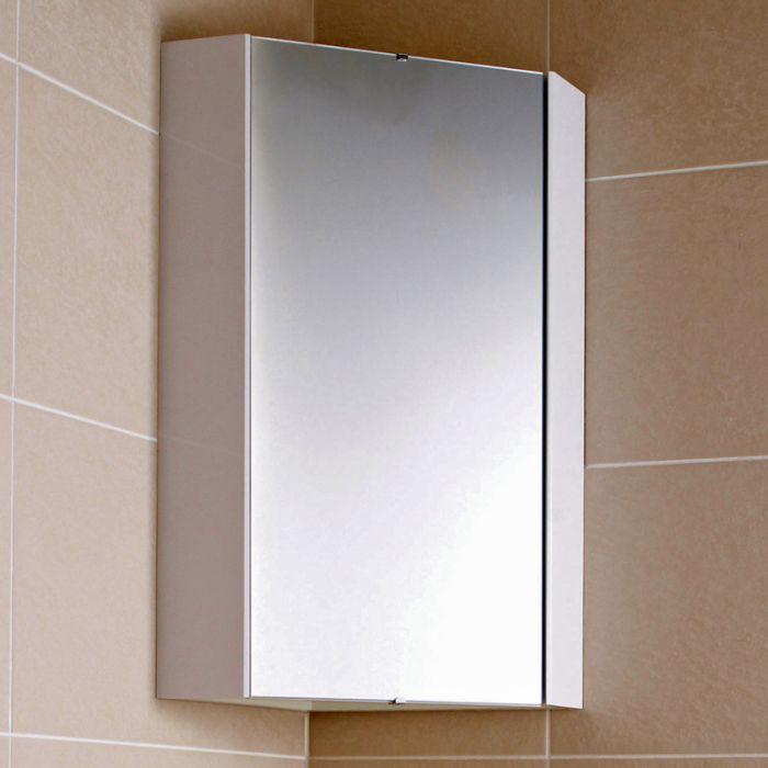 Eckspiegelschrank, 650mm x 459mm, Wandmontage - Weiß - Cluo
