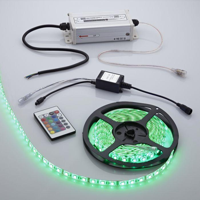 Biard 5m 5050 300 LED RGB Strip Set, farbwechselnd, wasserdicht, inkl. Netzteil und Regler