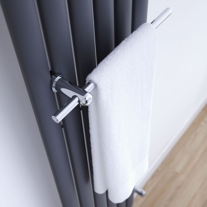 Chrom Handtuchstange für Vertikale 354mm Revive Design Heizkörper