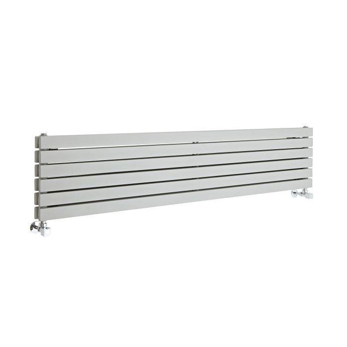 Design Heizkörper Vertikal Silberfarben 1600mm x 354mm 1700W (doppellagig) - Sloane