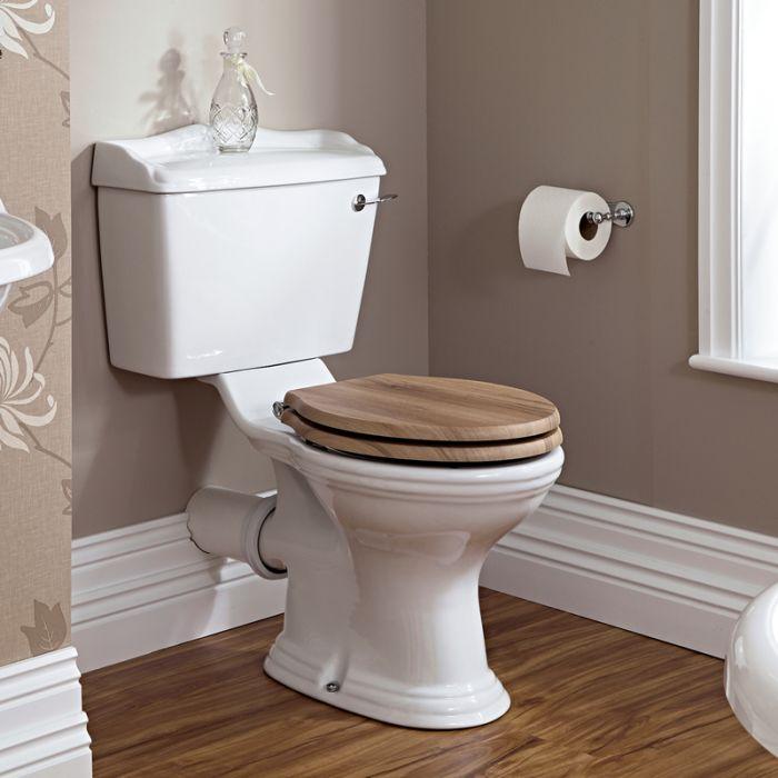 Weiße Stand Toilette mit aufgesetztem Spülkasten und Holzsitz - Ryther
