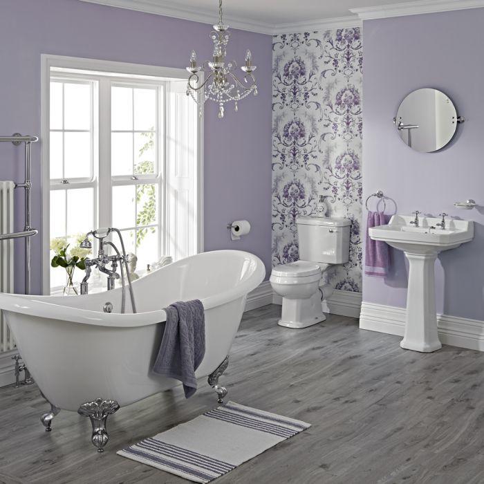 Traditionelles Badezimmerset - mit freistehender Badewanne, Stand-WC, und Standwaschbecken (ohne Armaturen) - Greiffüße Chrom - Carlton