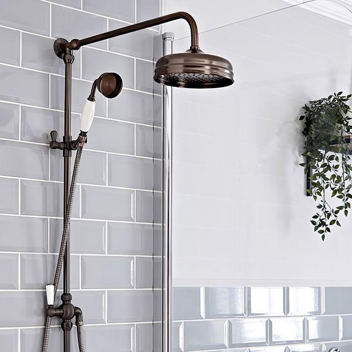 Aufputz-Duschsäule (ohne Armatur) - mit 194mm rundem Duschkopf und Handbrauseset - geölte Bronze - Elizabeth