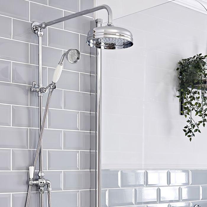 Retro-Duschsäule mit rundem 203mm Duschkopf und Handbrause – ohne Armatur – Chrom – Elizabeth