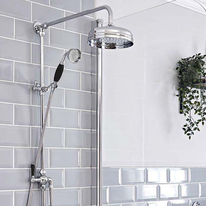 Retro Duschsäule mit Handbrause und Umsteller, für AP Duscharmatur, Chrom/Schwarz - Elizabeth