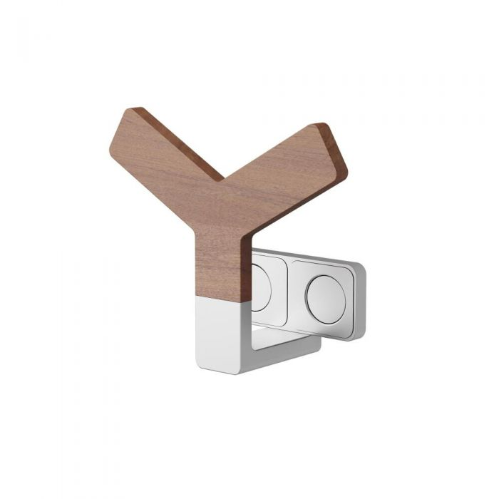 Y Kleiderhaken Aluminium mit Teak Holz