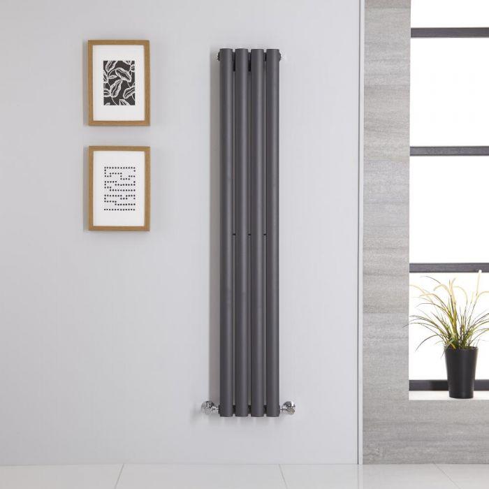 Design Heizkörper Vertikal Anthrazit 1400mm x 236mm 457W (einlagig) - Revive
