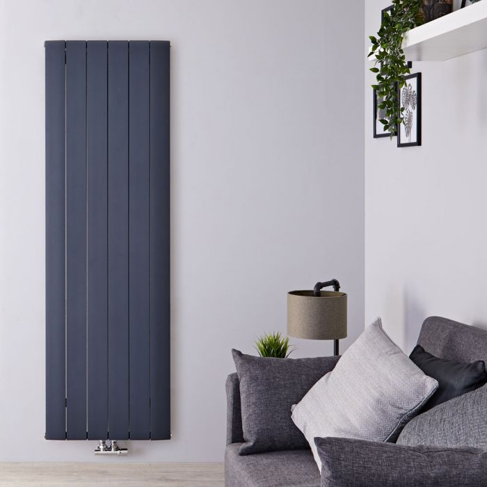 Design Heizkörper Vertikal Einlagig Mittelanschluss - Aluminium Anthrazit 1600mm x 565mm 1840W - Aurora