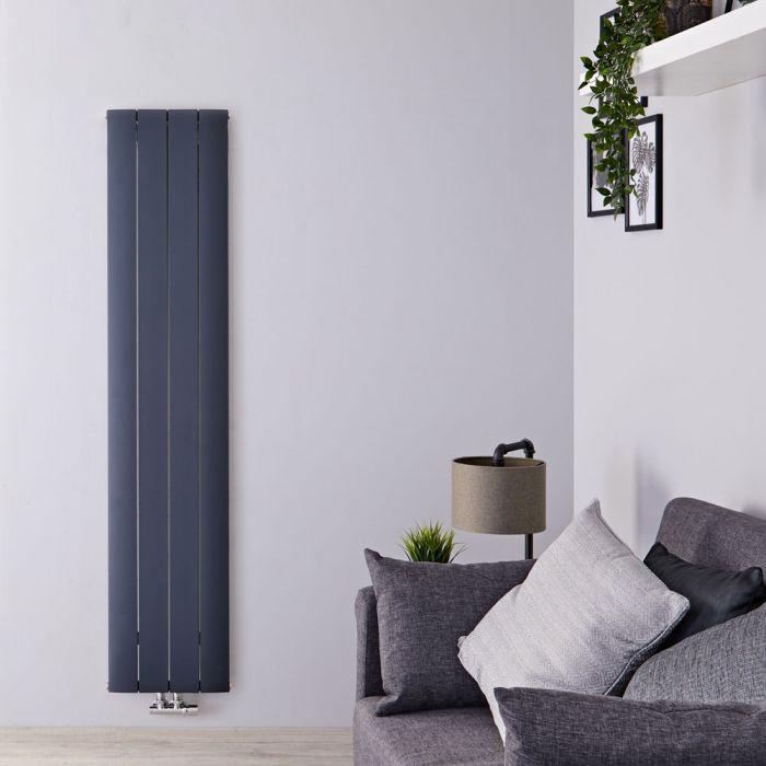 Design Heizkörper Vertikal Einlagig Mittelanschluss - Aluminium Anthrazit 1800mm x 375mm 1384W - Aurora