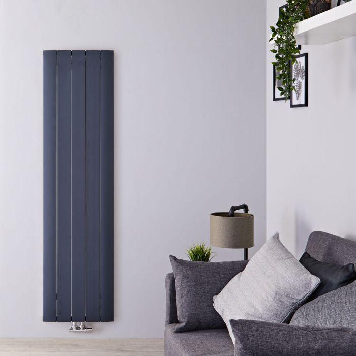 Design Heizkörper Vertikal Einlagig Mittelanschluss - Aluminium Anthrazit 1800mm x 470mm 1729W - Aurora