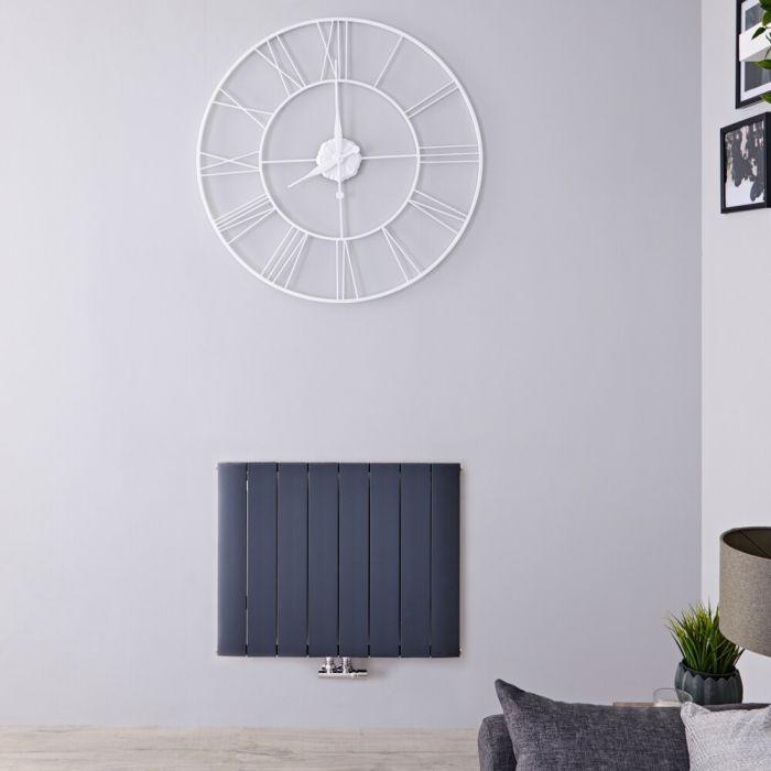 Design Heizkörper Horizontal Einlagig Mittelanschluss - Aluminium Anthrazit 600mm x 755mm 922W - Aurora
