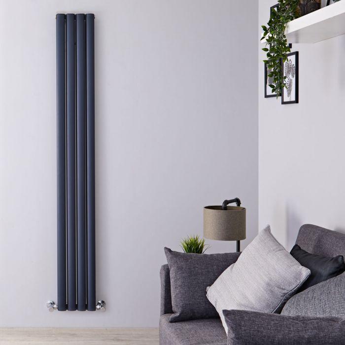Aluminium Design Heizkörper Vertikal Anthrazit 1800mm x 230mm 1002W (doppellagig) - Revive Air
