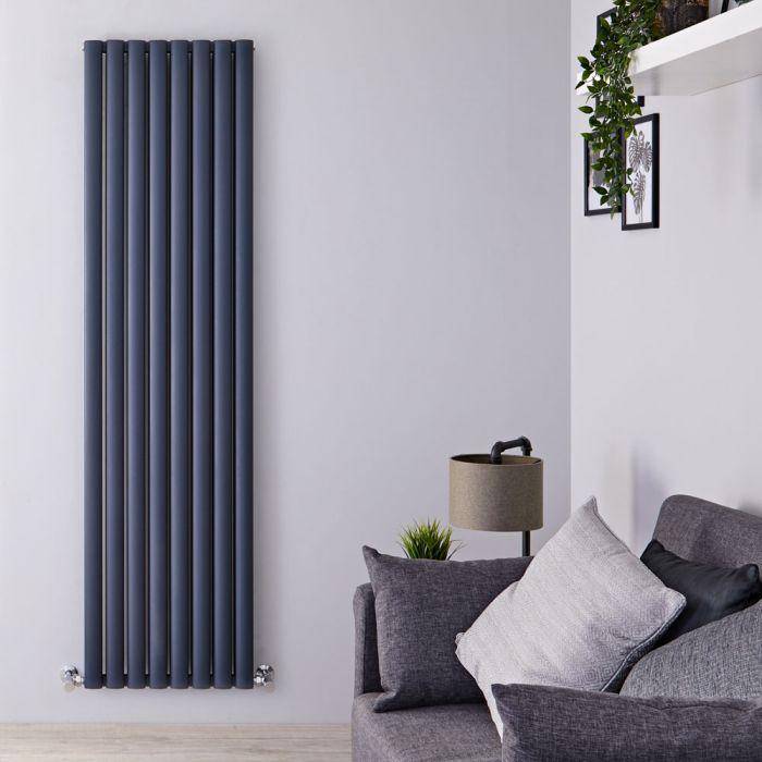 Aluminium Design Heizkörper Vertikal Anthrazit 1800mm x 470mm 2004W (doppellagig) - Revive Air