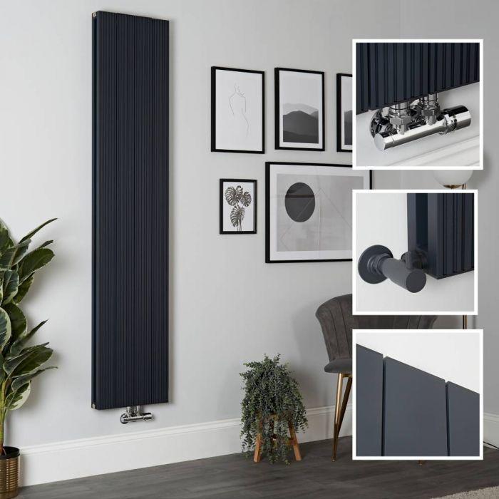 Aluminium Design Heizkörper Vertikal Anthrazit 1800mm x 375mm 1469W (Doppellagig) - Lex