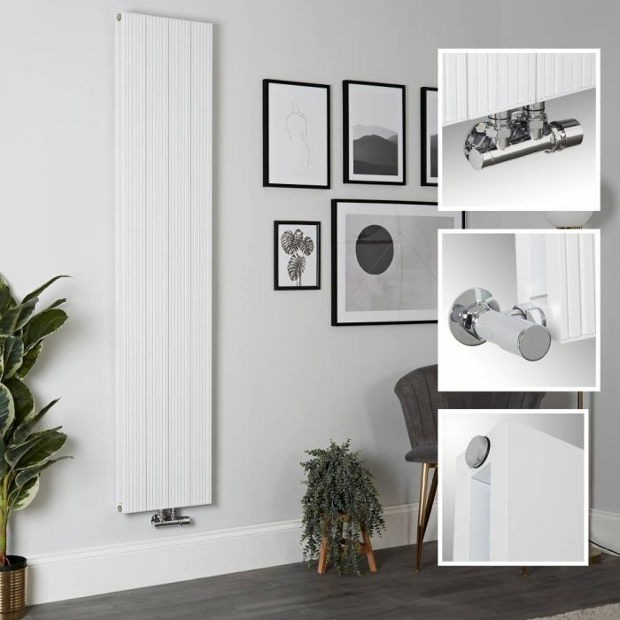 Aluminium Design Heizkörper Vertikal Weiß 1800mm x 375mm 1469W (Doppellagig) - Lex