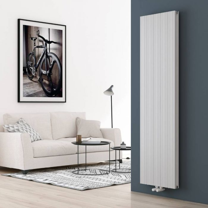 Aluminium Design Heizkörper Vertikal Weiß 1800mm x 470mm 1846W (Doppellagig) - Lex
