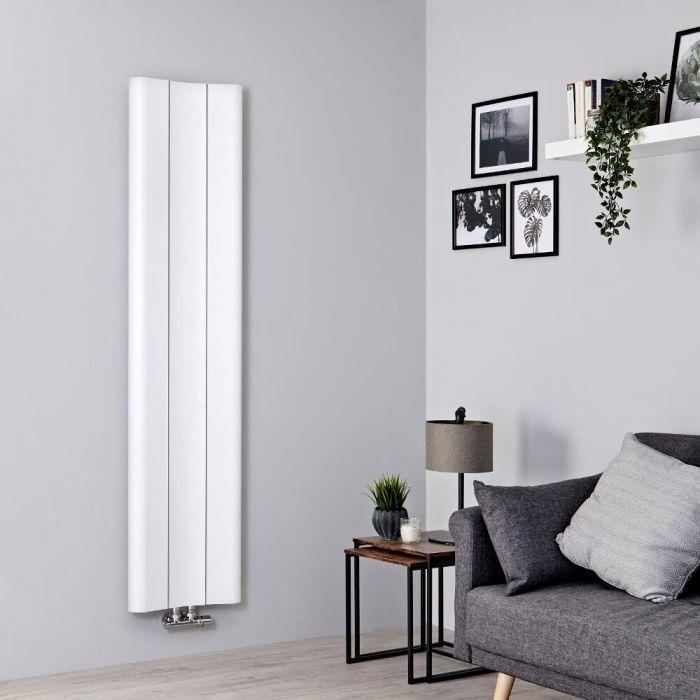 Designer Heizkörper Weiß Vertikal 1600mm x 370mm 869W Mittelanschluss - Aloa