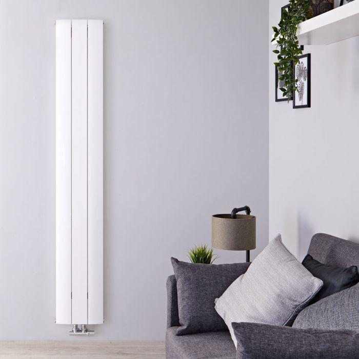 Design Heizkörper Vertikal Einlagig Mittelanschluss - Aluminium Weiß 1600mm x 280mm 920W - Aurora
