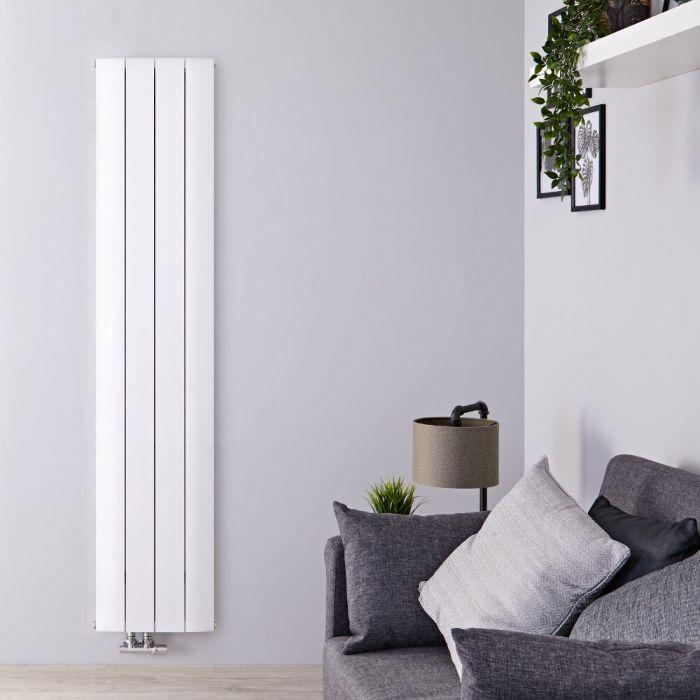Design Heizkörper Vertikal Einlagig Mittelanschluss - Aluminium Weiß 1600mm x 375mm 1226W - Aurora