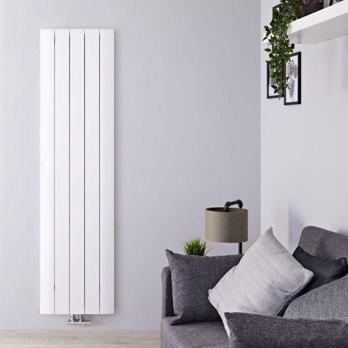 Design Heizkörper Vertikal Einlagig Mittelanschluss - Aluminium Weiß 1600mm x 470mm 1533W - Aurora
