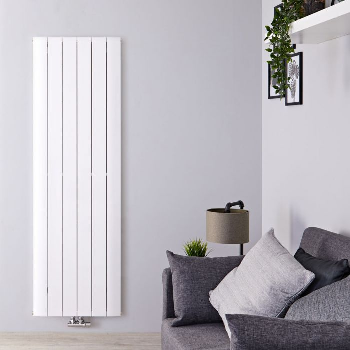 Design Heizkörper Vertikal Einlagig Mittelanschluss - Aluminium Weiß 1600mm x 565mm 1840W - Aurora