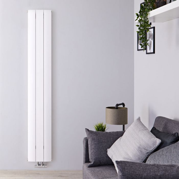 Design Heizkörper Vertikal Einlagig Mittelanschluss - Aluminium Weiß 1800mm x 280mm 1038W - Aurora