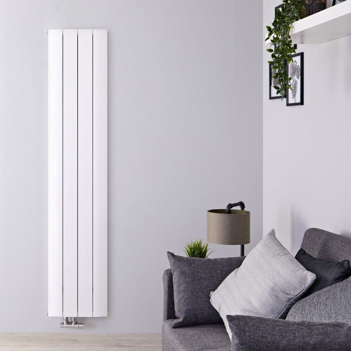 Design Heizkörper Vertikal Einlagig Mittelanschluss - Aluminium Weiß 1800mm x 375mm 1384W - Aurora