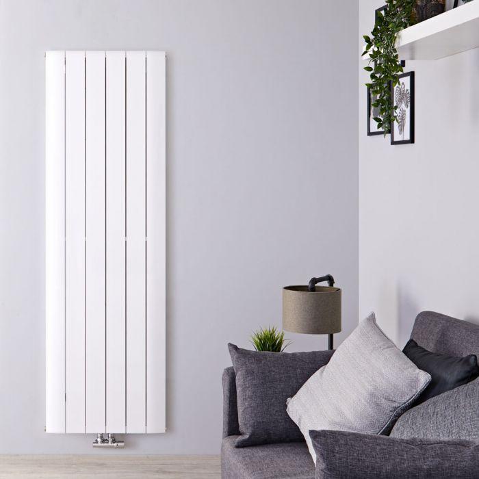 Design Heizkörper Vertikal Einlagig Mittelanschluss - Aluminium Weiß 1800mm x 565mm 2075W - Aurora
