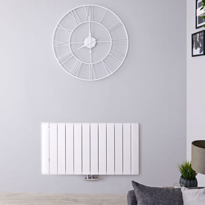 Design Heizkörper Horizontal Einlagig Mittelanschluss - Aluminium Weiß 600mm x 1135mm 1384W - Aurora