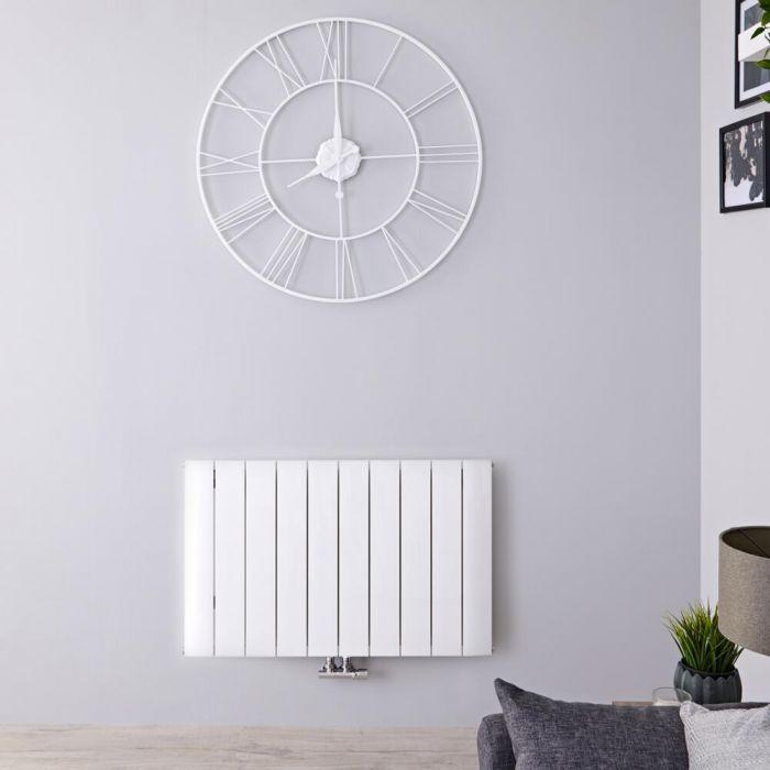 Design Heizkörper Horizontal Einlagig Mittelanschluss - Aluminium Weiß 600mm x 945mm 1153W - Aurora