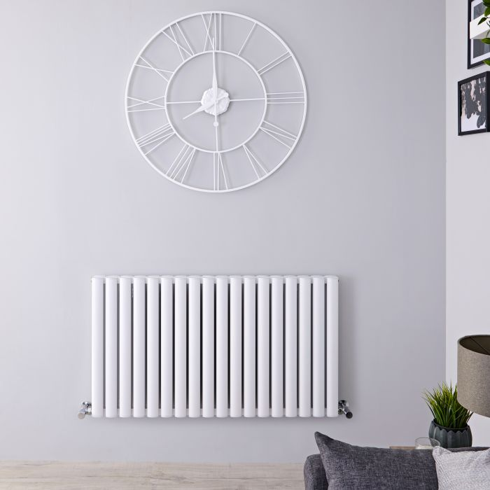 Design Heizkörper Aluminium Doppellagig Horizontal Weiß 600mm x 1070mm 2067W - Revive Air