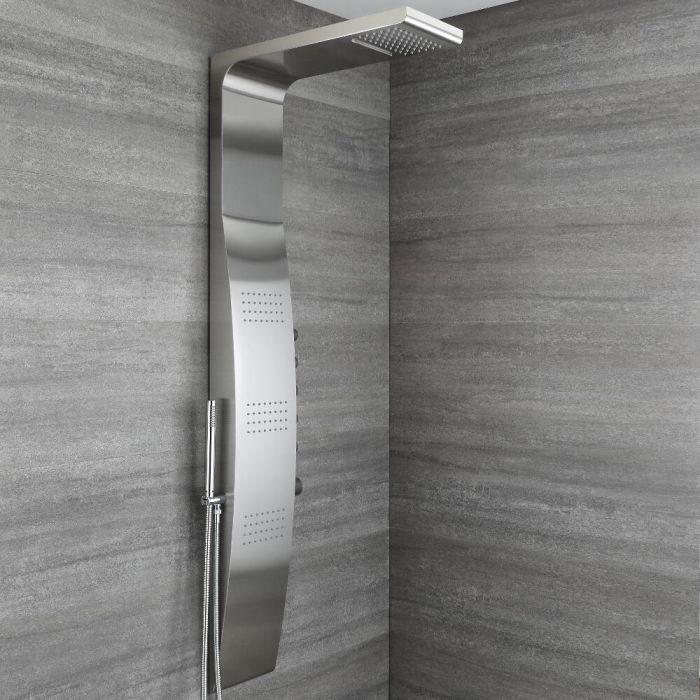 Duschpaneel mit Thermostat - mit Regen/Wasserfall-Duschkopf, Handbrause und Körperdüsen - Chrom -  Select