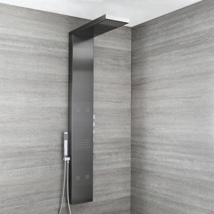 Duschpaneel mit Thermostat - mit Regen/Wasserfall-Duschkopf, Handbrause und Körperdüsen - Dunkelgrau - Select