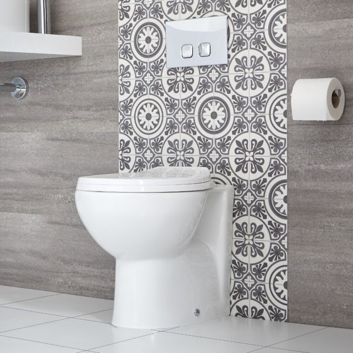 Ovale Stand Toilette inkl. Sitz mit Absenkautomatik exkl. Spülkasten - Select