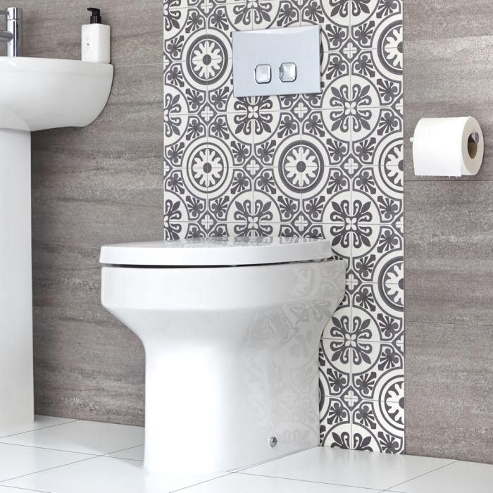 Ovale Stand Toilette inkl. Sitz mit Absenkautomatik exkl. Spülkasten - Covelly
