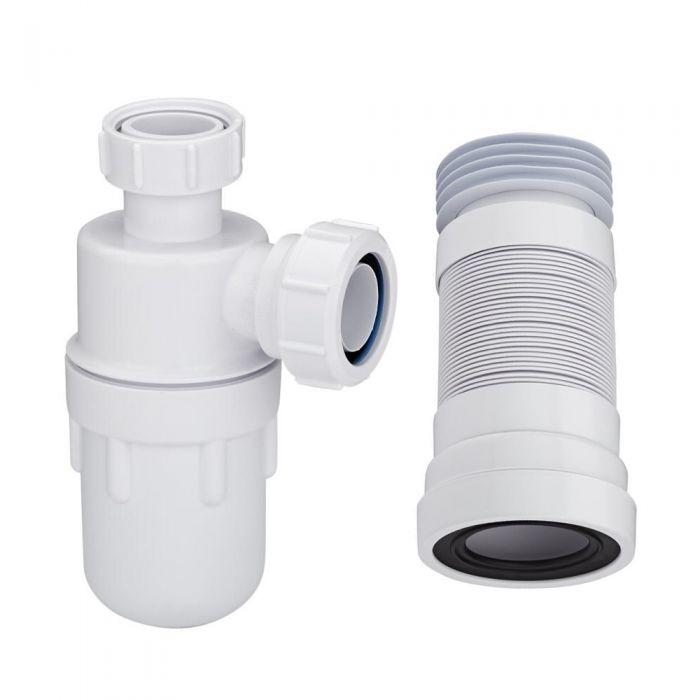 Waschbecken-Siphon und WC-Abflussrohr