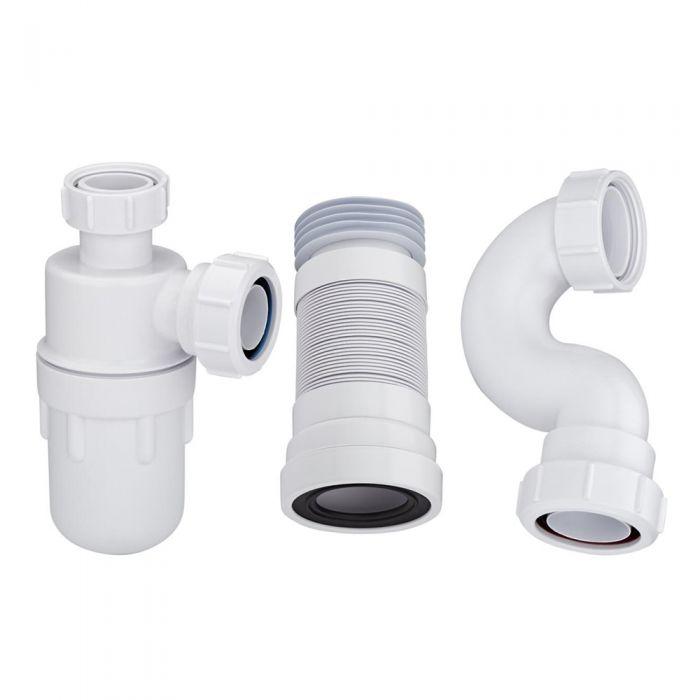 Kleiner Waschbecken-Siphon, Badewannen-Siphon und WC-Abflussrohr