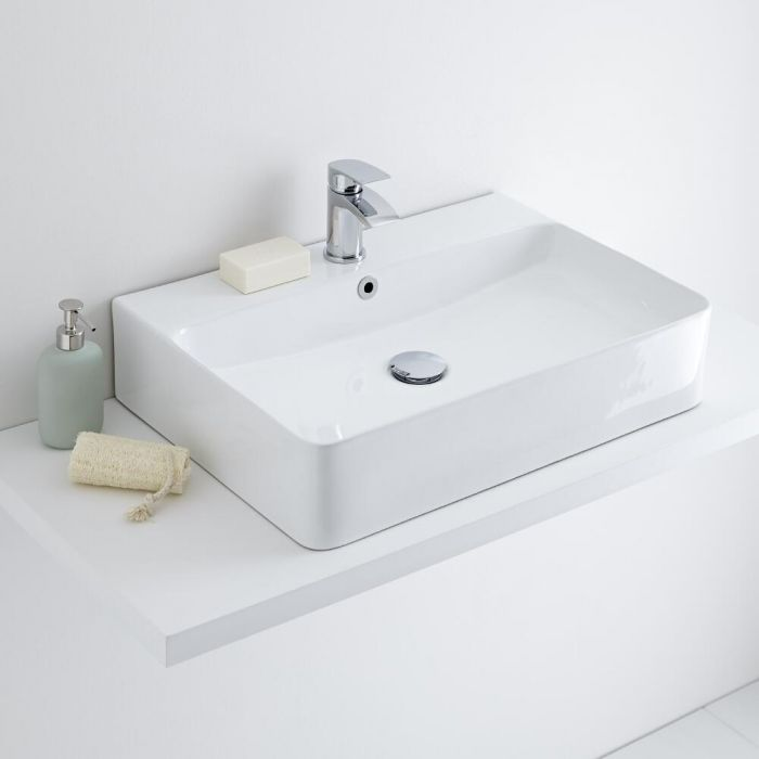 Aufsatzwaschbecken, rechteckig – 600mm x 420mm, mit 1 Hahnloch – Exton