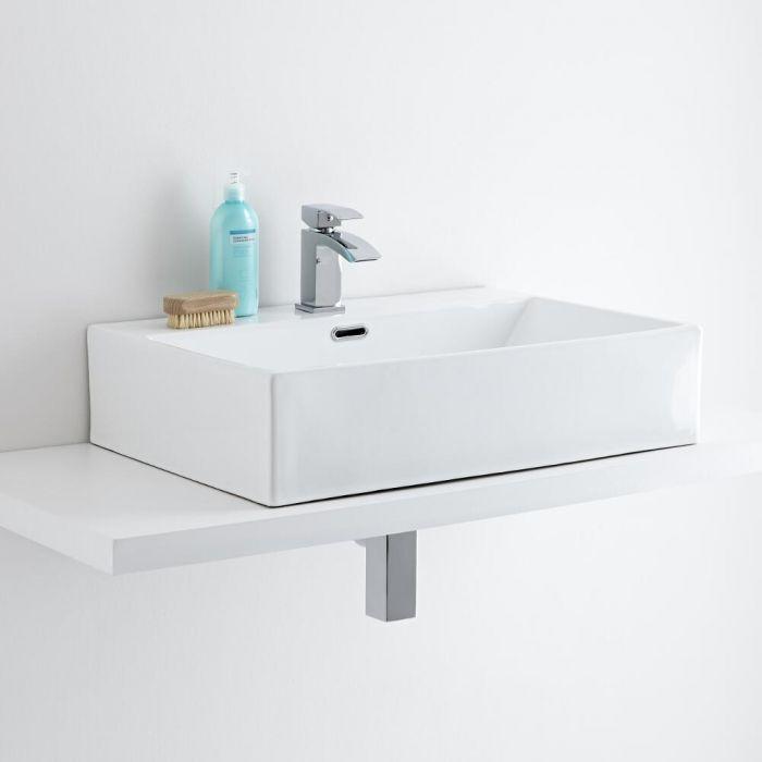 Aufsatzwaschbecken, rechteckig, 600mm x 420mm – mit Einhebelmischer - Sandford