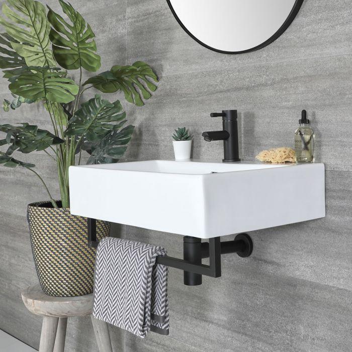 Hängewaschbecken mit Handtuchhalter, eckig, Weiß, Größe wählbar - Sandford