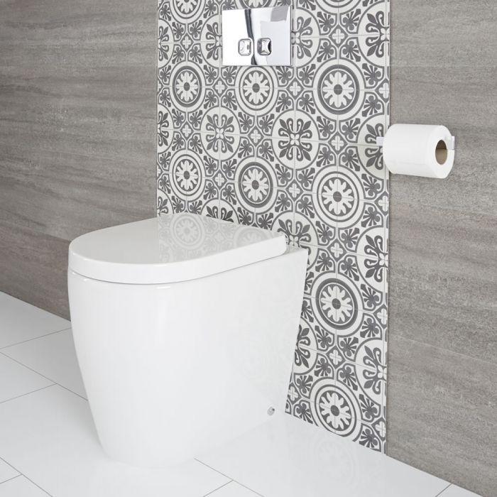 Moderne Stand-Toilette mit Sitz oval weiß - Otterton