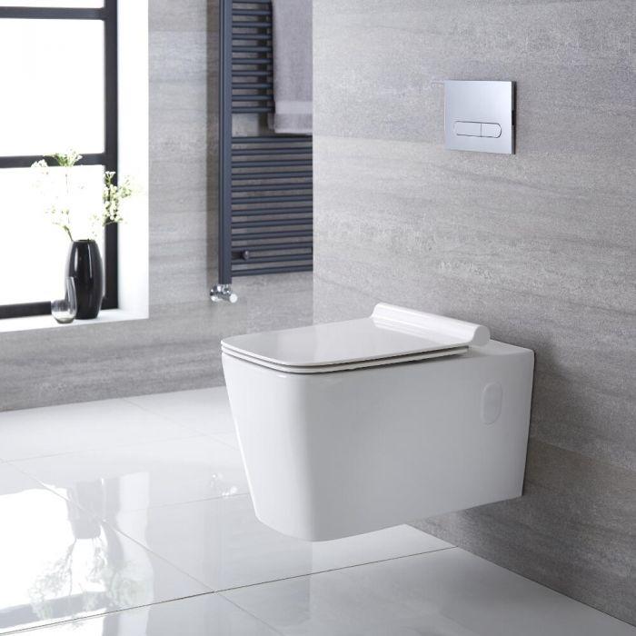 Quadratisches Hänge-WC Weiß inkl. Sitz mit Absenkautomatik - Sandford