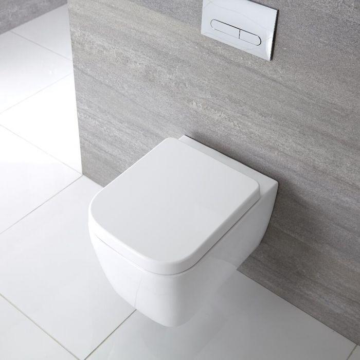 Quadratisches Hänge-WC Weiß inkl. Sitz mit Absenkautomatik - Milton