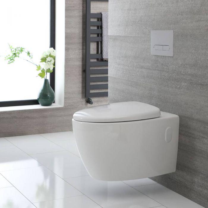 Rundes Hänge-WC Weiß ohne Spülrand inkl. Sitz mit Absenkautomatik - Kenton